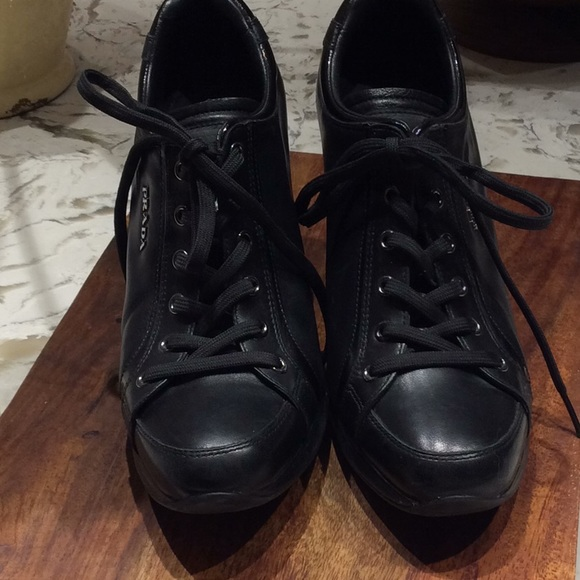 c3fe1a40a2e Prada Authentic Leather Wedge Lace up Sneakers